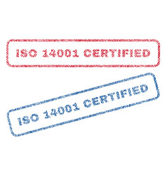 Iso 14001 certified textile stamps vector