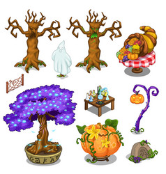 Magical trees pumpkin and other magical things vector