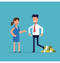 Man cheating woman Businessman with lots of money vector image