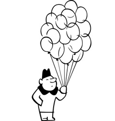 Man with a lot of balloons vector image vector image