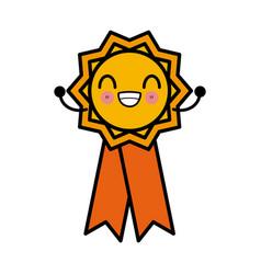 medal award ribbon cute kawaii cartoon vector image