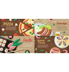 National dishes and drinks web banners vector
