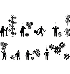 Pictogram people with gear wheels vector image