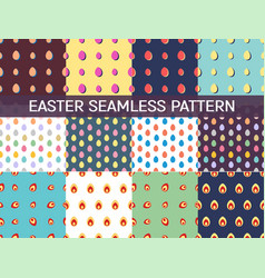 Set of 12 seamless patterns with easter eggs vector