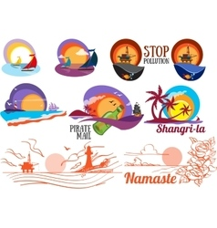 Set of colorful paintings of marine subjects vector image vector image