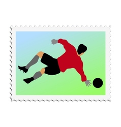 stamp with image of football vector image