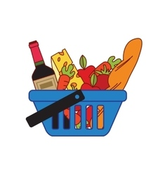 Supermarket shopping basket vector image