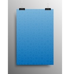 Vertical poster a4 puzzle pieces blue puzzles vector