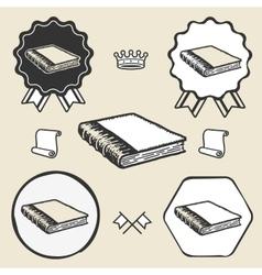 Vintage book symbol emblem label collection vector image