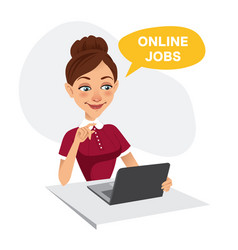 Woman uses online recruitment service online jobs vector