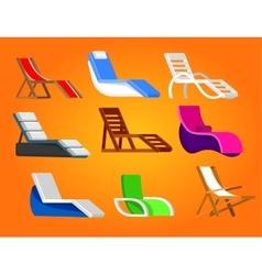 Wooden beach chaise longue vector
