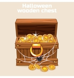 wooden chest with coins on Halloween vector image vector image