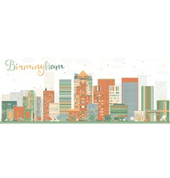 Abstract birmingham skyline with color buildings vector