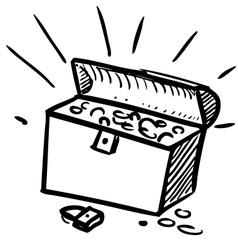 Old pirate treasure cartoon icon vector image