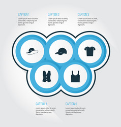 Clothes icons set collection of waistcoat vector