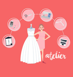 Atelier woman occupation bridal business textile vector