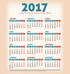 2017 vintage design calendar vector