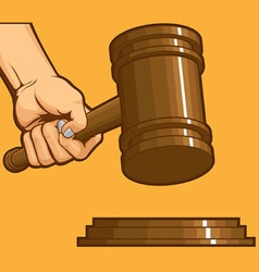 Hand knocking gavel vector