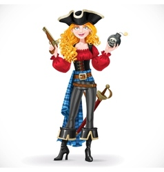 Brave red-haired pirate girl holding a bomb with vector image