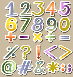 Colourful set of numbers vector
