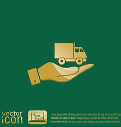 Hand holding a truck logistic icon symbol icon vector
