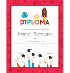 Kids diploma certificate background template vector