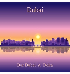 Dubai deira and bur dubai on sunset background vector