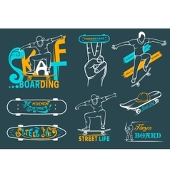 Set of skateboarding emblems logo and badges vector