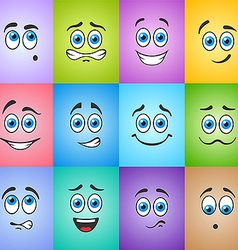 Smiles with blue eyes on colored background vector