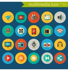 Detailed multimedia icon set vector