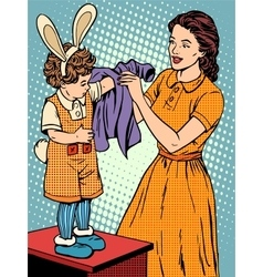 Carnival mother of the child dresses up in a bunny vector
