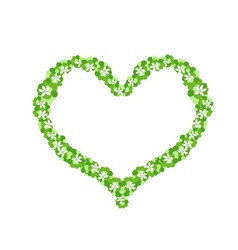 White flowers and green leaves forming in heart vector