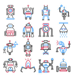 Android robots set isolated on white machines vector