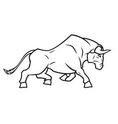 Angry bull running vector