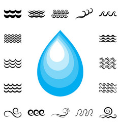 blue drop icon vector image