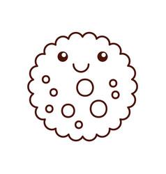 Cartoon cook chocolate chip cookie emotion kawaii vector