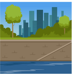 City buildings and river bank urban cityscape vector