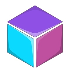 Colorful cube icon cartoon style vector