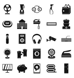 Computer app icons set simple style vector