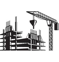 Crane poured concrete construction vector