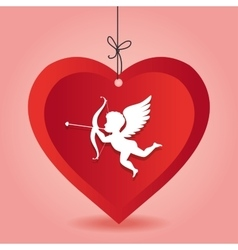 Cupid love heart hanging pink background vector