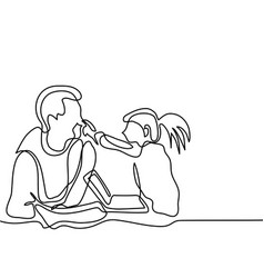 Father and daughter play with laptop vector