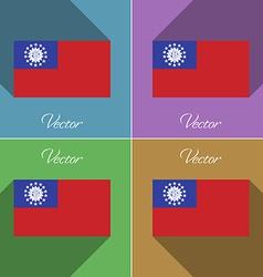 Flags MyanmarBurma Set of colors flat design and vector image