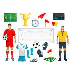 Football icons set of soccer sport game vector