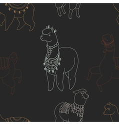 Fun alpaka and lama in festive decorations vector image