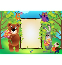 Funny animals frame vector image