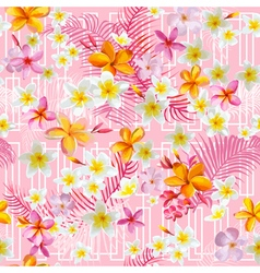 Geometric tropical flowers and leaves background vector