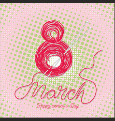 Greeting card with 8 march womens day 8 vector