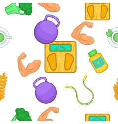 Healthy lifestyle pattern cartoon style vector image vector image
