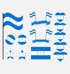 honduran flag set symbols flag in heart vector image vector image